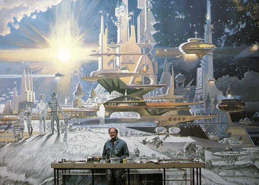 Robert McCall at work on one of his murals for the Horizons pavilion at Epcot. © Disney