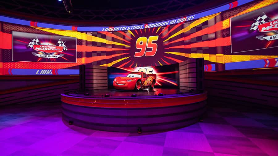 Lightning McQueen on stage for Lightning McQueen's Racing Academy, Disney's Hollywood Studios