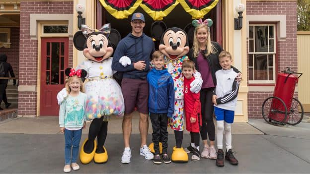 Drew Brees and Family Celebrate Vacation with Mickey Mouse and Minnie Mouse at Disneyland Park