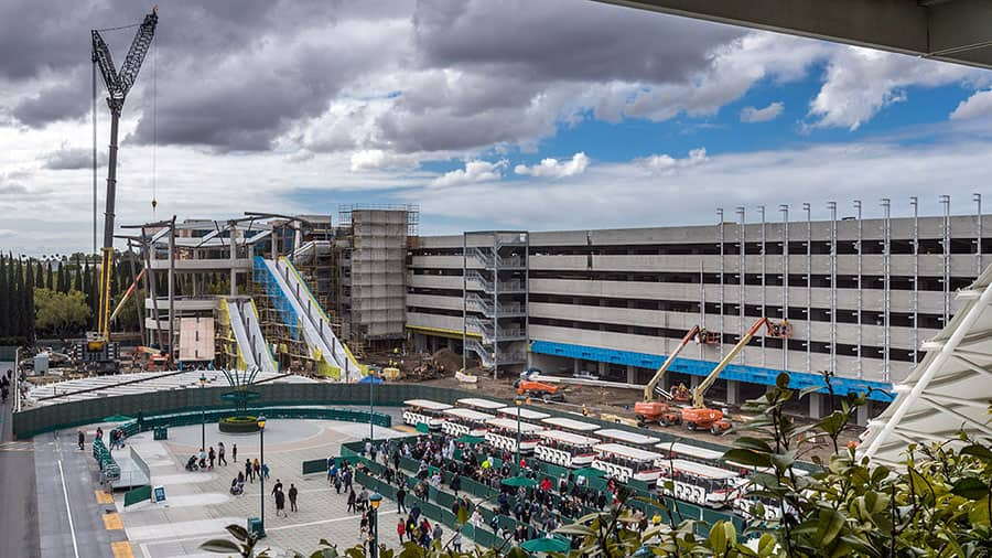 "View of construction of ""Pixar Pals"" parking structure adjacent to Mickey & Friends, Disneyland Resort."