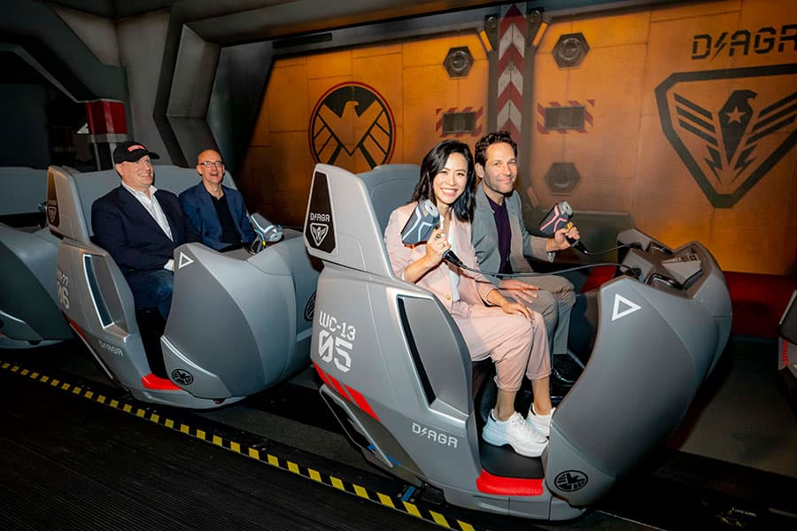 Paul Rudd and Jessica Hsuan on Ant-Man and The Wasp: Nano Battle! at Hong Kong Disneyland