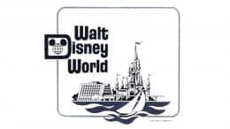 "The Magic Kingdom, resort hotels, and water recreation shared ""equal billing"" in the original WDW logo illustration. © Disney"