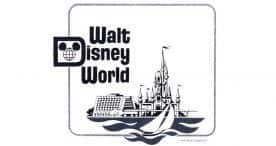 """The Magic Kingdom, resort hotels, and water recreation shared """"equal billing"""" in the original WDW logo illustration. © Disney"""