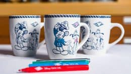 Mugs from the Animator's Palate merchandise collection aboard Disney Cruise Line ships