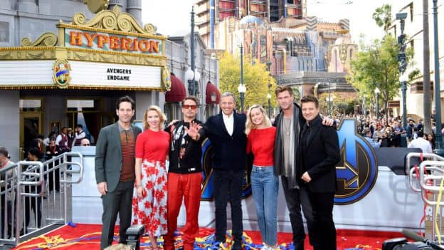 Robert Downey Jr., Chris Hemsworth, Scarlett Johansson, Jeremy Renner, Paul Rudd and Brie Larson join Robert A. Iger, chairman and CEO of The Walt Disney Company, at Disney California Adventure park to launch Avengers Universe Unites, a charity event that supports The Walt Disney Company's signature philanthropic commitment, Disney Team of Heroes, which delivers comfort and inspiration to seriously ill children around the world.