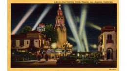 The Carthay Circle name derives from the name of its developer, J. Harvey McCarthy, the auditorium was shaped as a perfect circle, extended up into a cylinder, set inside a square. Vintage postcard, public domain.