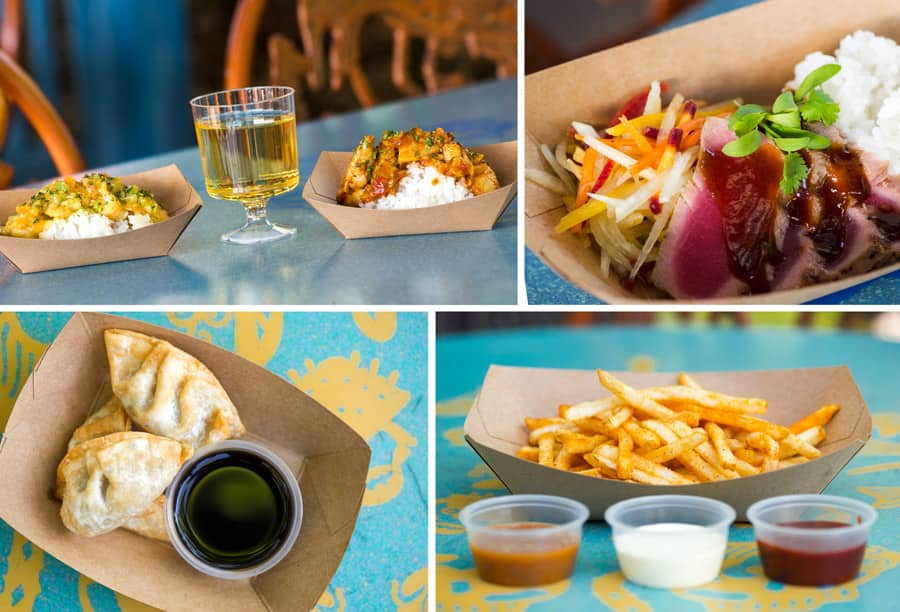 Dishes from Kusafiri Bakery (Africa) - Curries, Caravan Road (Asia) - Tuna Tataki Bowl, and Mr. Kamal's (Asia) - Fried Chicken Dumplings and Kamal's Fries with Dipping Sauces - 2019 Disney's Animal Kingdom Tasting Sampler