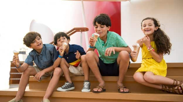 Kids eat ice cream aboard Disney Cruise Line