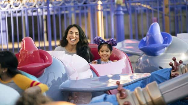 Mother and Daughter on Dumbo at Disneyland Park
