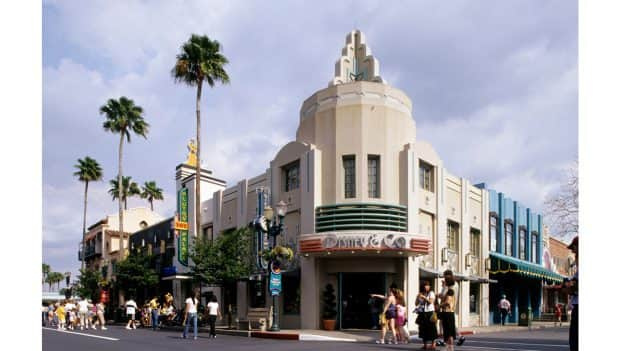 Disney & Co. was inspired by the 1937 Art Deco Ansco Building at 6424 Santa Monica Boulevard (at Cole Avenue). © Disney