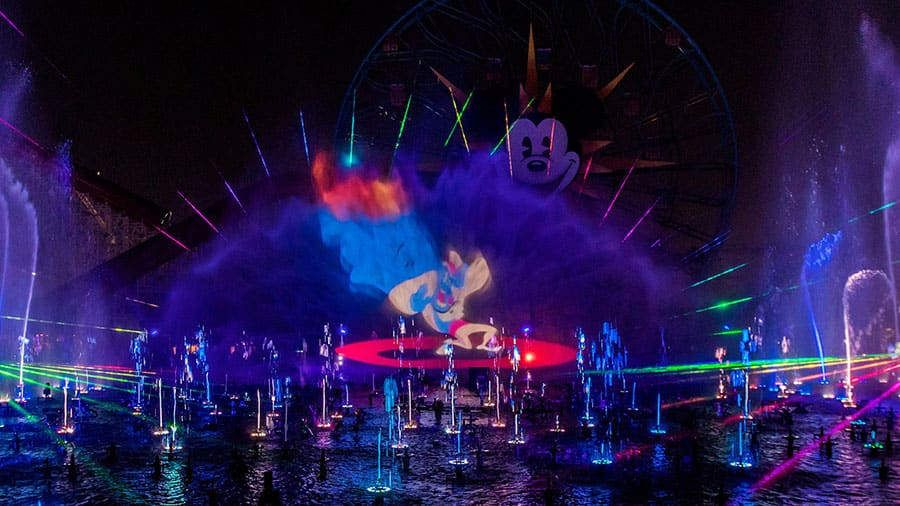 """World of Color"", with lights and water show at Disney California Adventure park"