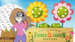"""Judy Hopps from """"Zootopia"""" visits the Epcot International Flower & Garden Festival in this Disney Doodle by artist Evan Peltier"""