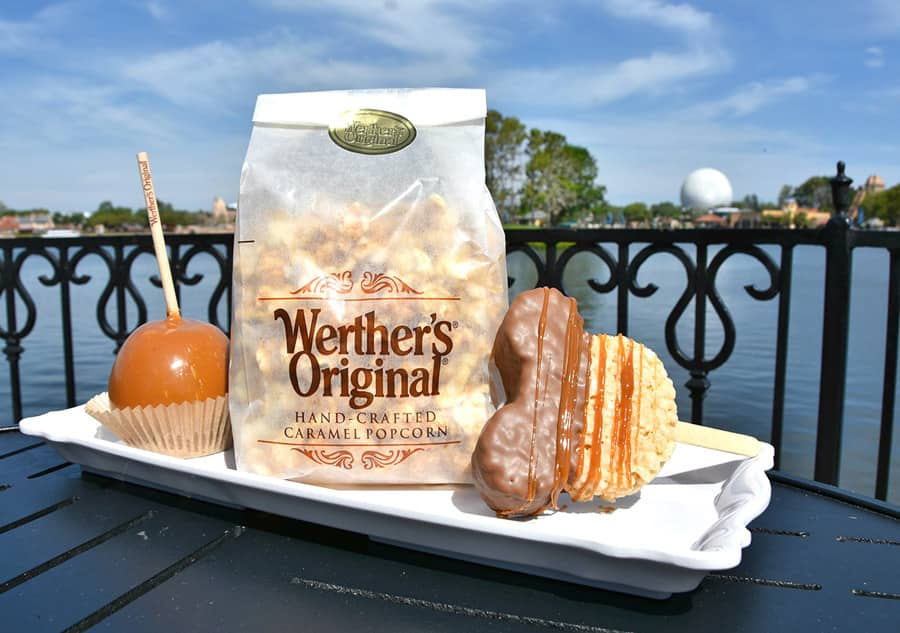 Caramel apple, Caramel popcorn and Mickey-shaped Crispy Treat dipped in chocolate and drizzled with Werther's Caramel from Karamell-Küche at Epcot