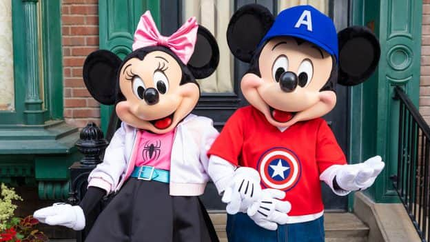 Mickey Mouse and Minnie Mouse are dressing the part for Disneyland After Dark: Heroes Assemble at Disney California Adventure Park