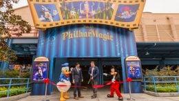"Ribbon cutting at ""Mickey's PhilharMagic"" opening at Disney California Adventure park"