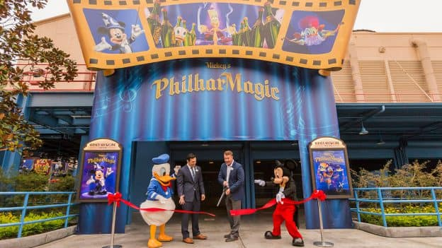 "Ribbon cutting at ""Mickey's PhilharMagic"" opening at Disney California Adventure park"