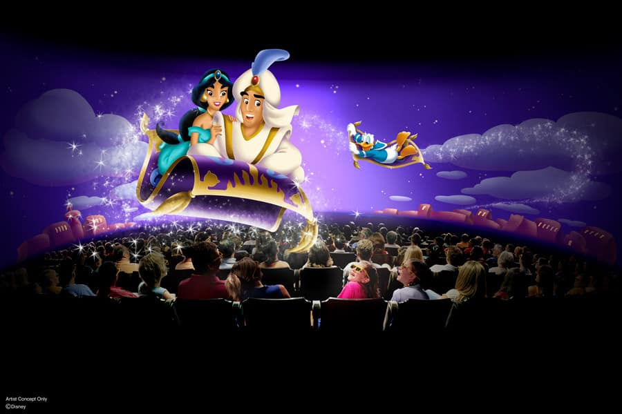 'Mickey's PhilharMagic' artist concept with Aladdin, Jasmine and Donald Duck