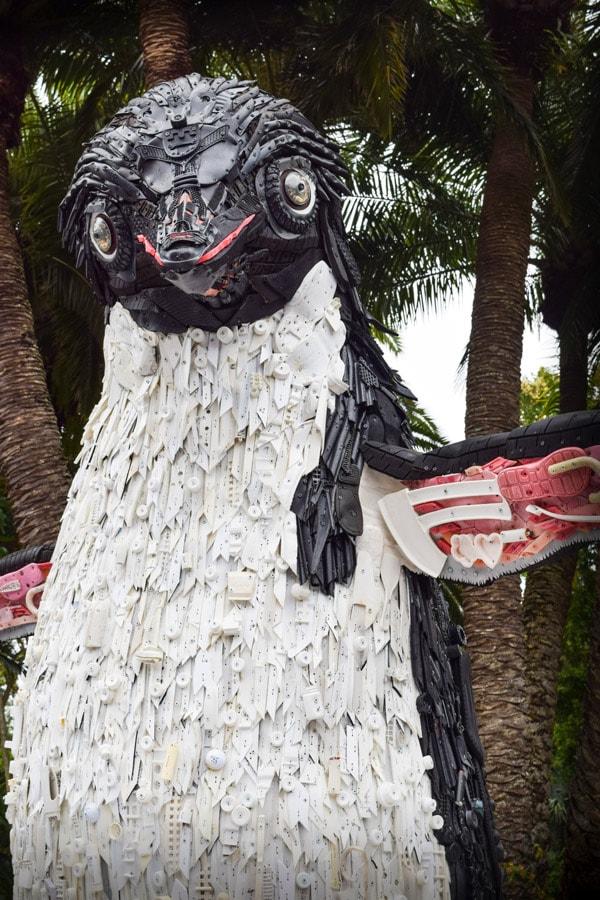 Disneynature Penguins sculpture at Disney's Animal Kingdom created by WashedAshore.org