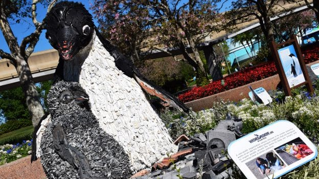 Disneynature Penguins sculpture at Epcot created by WashedAshore.org