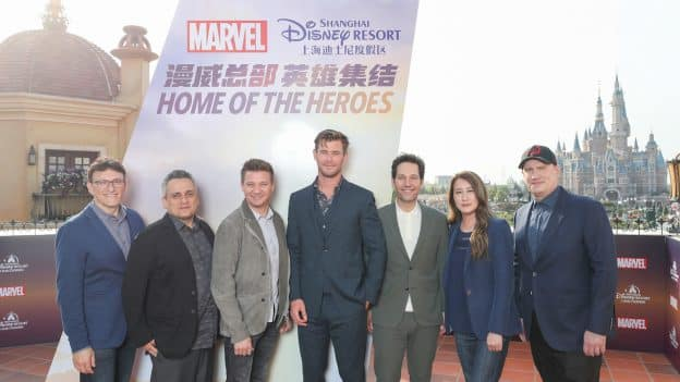 "Chris Hemsworth, Paul Rudd and Jeremy Renner, along with producer Kevin Feige, directors Anthony and Joe Russo and executive producer Trinh Tran, at Shanghai Disney Resort ahead of the release of Marvel Studios' ""Avengers: Endgame."""