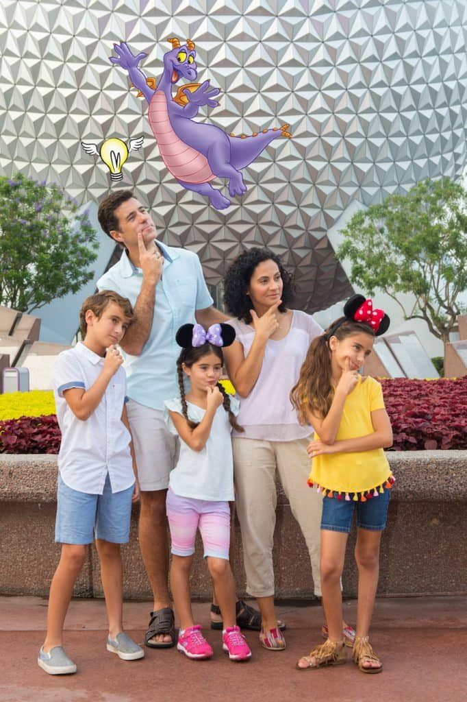 Disney PhotoPass Magic Shot at the main park entrance and in Future World at Epcot