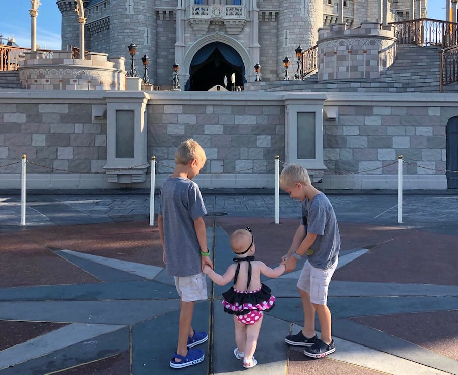 Kids in front of Cinderella Castle