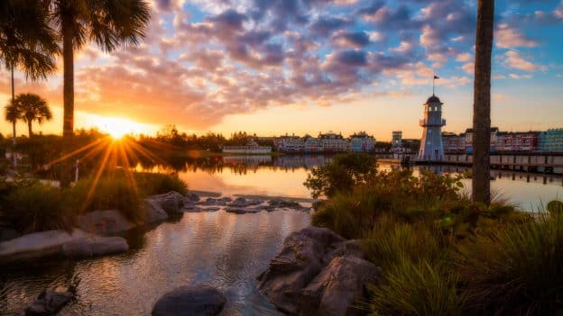 Sunrise above Disney's Yacht Club Resort, Disney's Beach Club Resort and Disney's BoardWalk