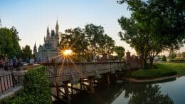 Sun shines at Cinderella Castle in Magic Kingdom Park at Walt Disney World Resort