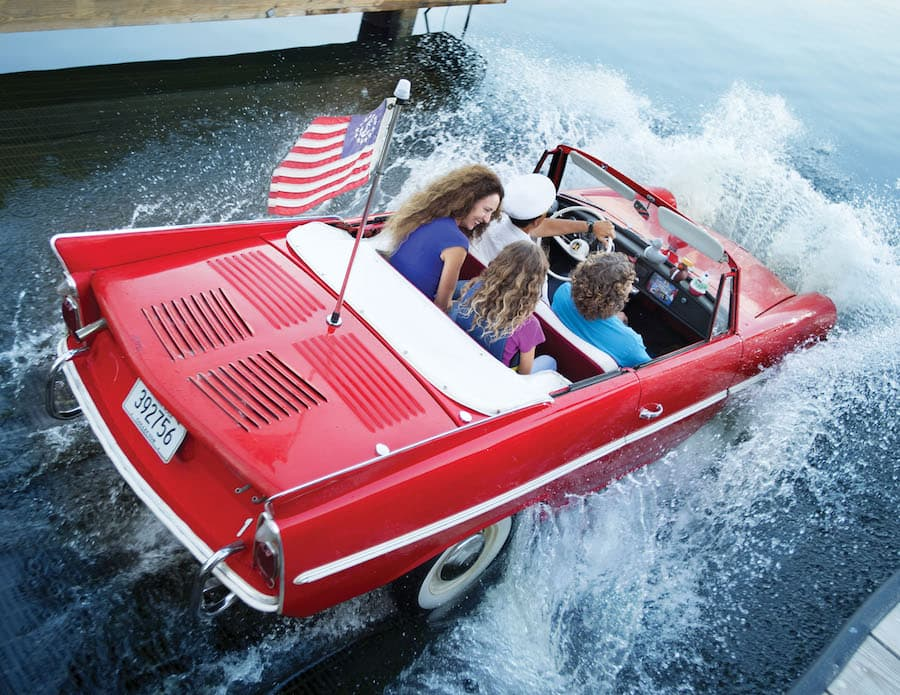 Vintage amphicar ride on Lake Buena Vista at The BOATHOUSE at Disney Springs