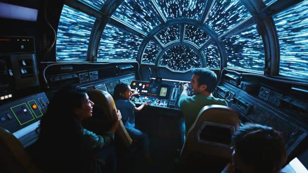 Guest on Millennium Falcon: Smugglers Run at Disneyland Resort