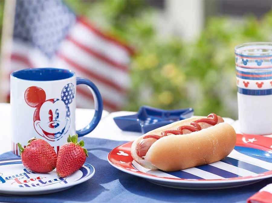 Americana-inspired Disney gear, plates and Mickey Mouse cup