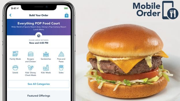 Mobile Order service through the My Disney Experience App on a smartphone and cheeseburger