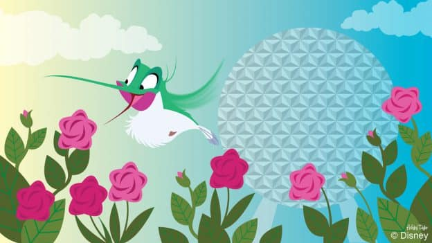Flit Enjoys the flowers at the Epcot International Flower & Garden Festival in this Disney Doodle