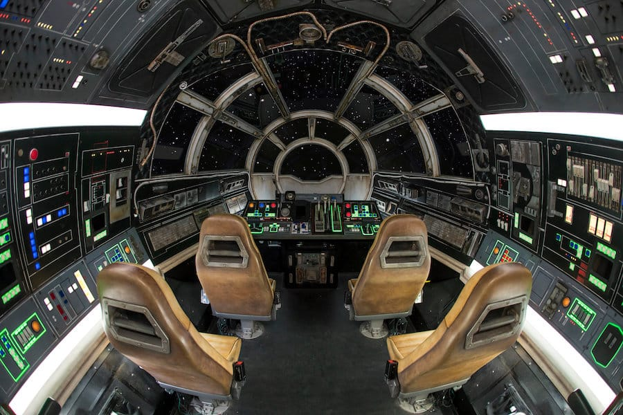 Inside Millennium Falcon: Smugglers Run at Star Wars: Galaxy's Edge at Disneyland Park