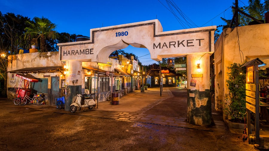 Harambe Market at Night at Disney's Animal Kingdom Theme Park