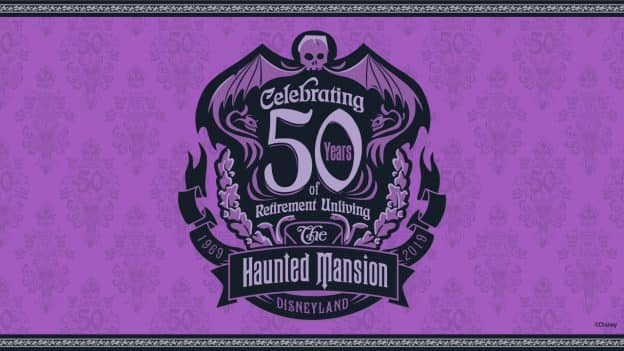 'The Haunted Mansion: Celebrating 50 Years of Retirement Unliving' Logo