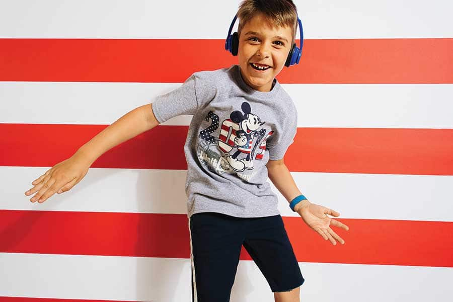Child wearing patriotic, americana inspired merchandise at Disney Parks