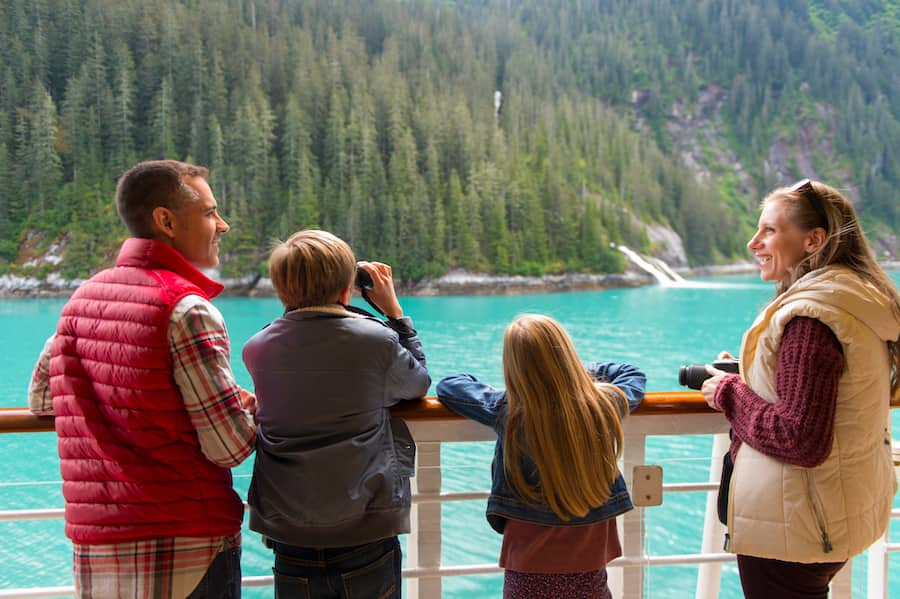 Family Looking at Alaska from the Disney Wonder