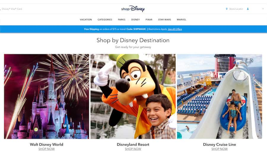 Screenshot of shopDisney website