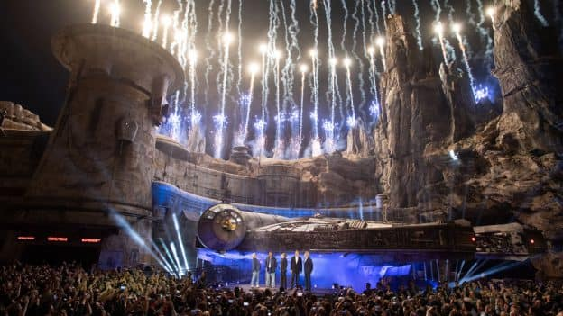To dedicate Star Wars: Galaxy's Edge, Disney Chairman and CEO Bob Iger was joined in front of the Millennium Falcon by Star Wars icons including George Lucas, Harrison Ford, Mark Hamill and Billy Dee Williams.