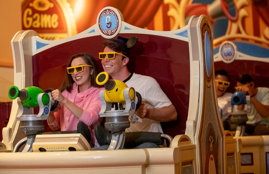 Guests on Toy Story Midway Mania!