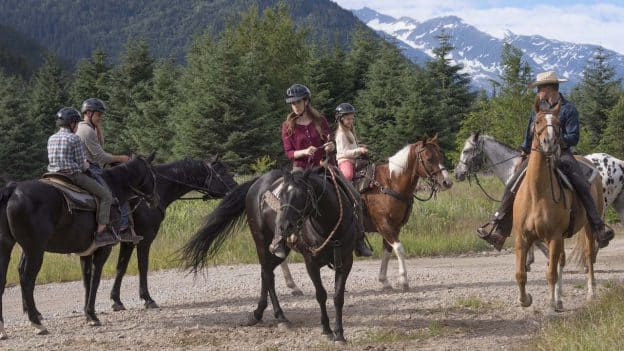 Family on Horses in Alaska with Disney Cruise Line