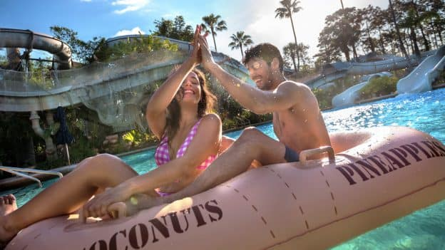 Couple rides Crush 'n Gusher at Disney's Typhoon Lagoon