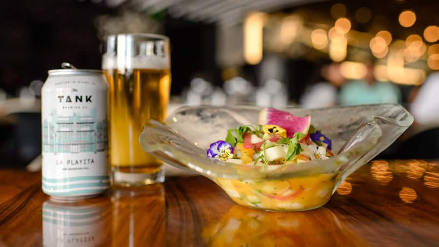 Market or Fresh Catch Ceviche and La Playita Lager from STK Orlando for Disney Springs Flavors of Florida