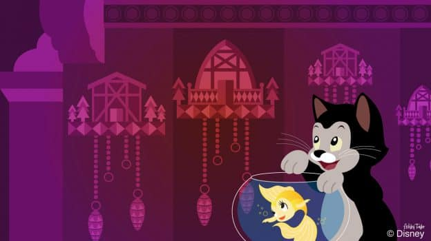 "Cleo and Figaro from ""Pinocchio"" admire the cuckoo clocks in the Germany Pavilion at Epcot in this Disney Doodle by Artist Ashley Taylor"