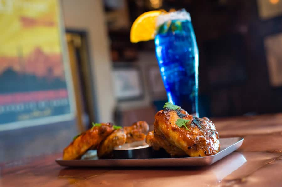 Fountain of Youth Chicken Wings and Florida Rain Cocktail from Jock Lindsey's Hangar Bar for Disney Springs Flavors of Florida