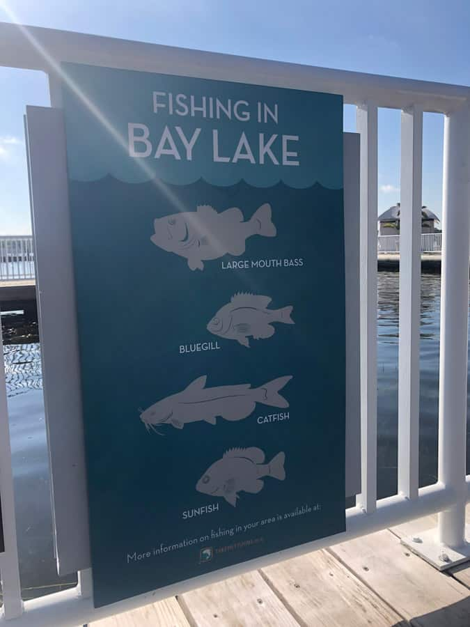 Fishing in Bay Lake Sign