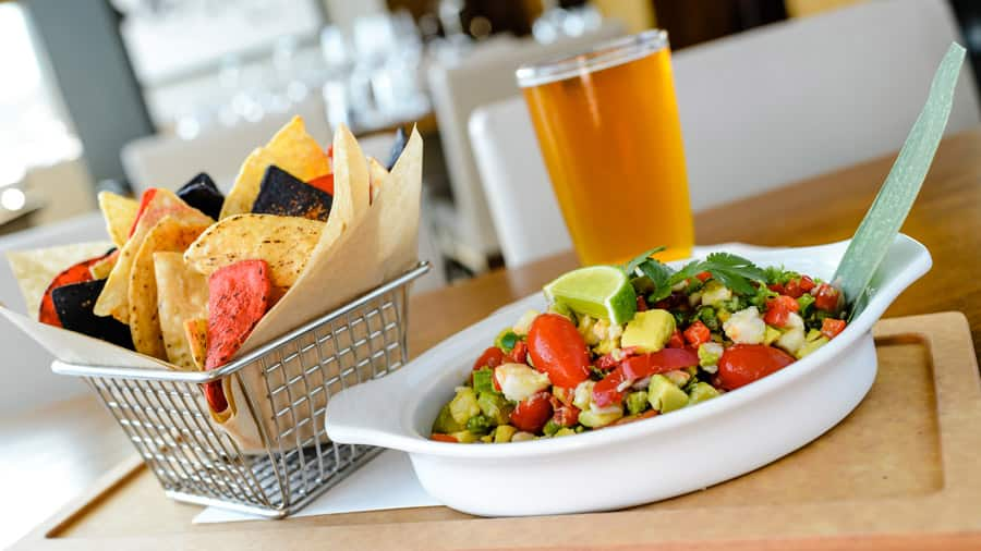 Crab Ceviche and Key Lime Wheat Ale from Paddlefish for Disney Springs Flavors of Florida
