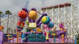 Entrance of Inside Out Emotional Whirlwind at Pixar Pier in Disney California Adventure Park