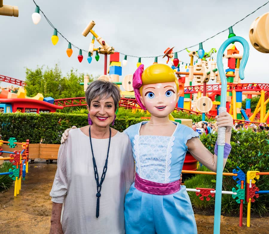 Annie Potts (left) with Bo Peep (right) inside Toy Story Land at Disney's Hollywood Studios